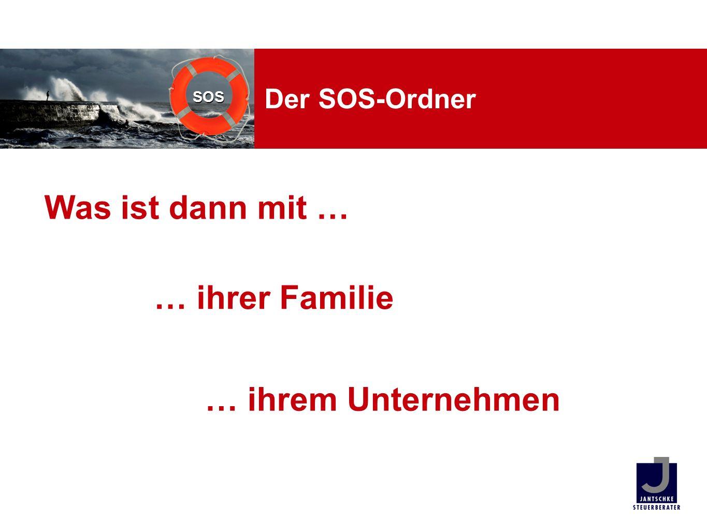 Der SOS-Ordner Was ist dann mit … … ihrer Familie … ihrem Unternehmen