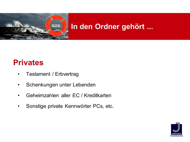 Privates In den Ordner gehört ... Testament / Erbvertrag