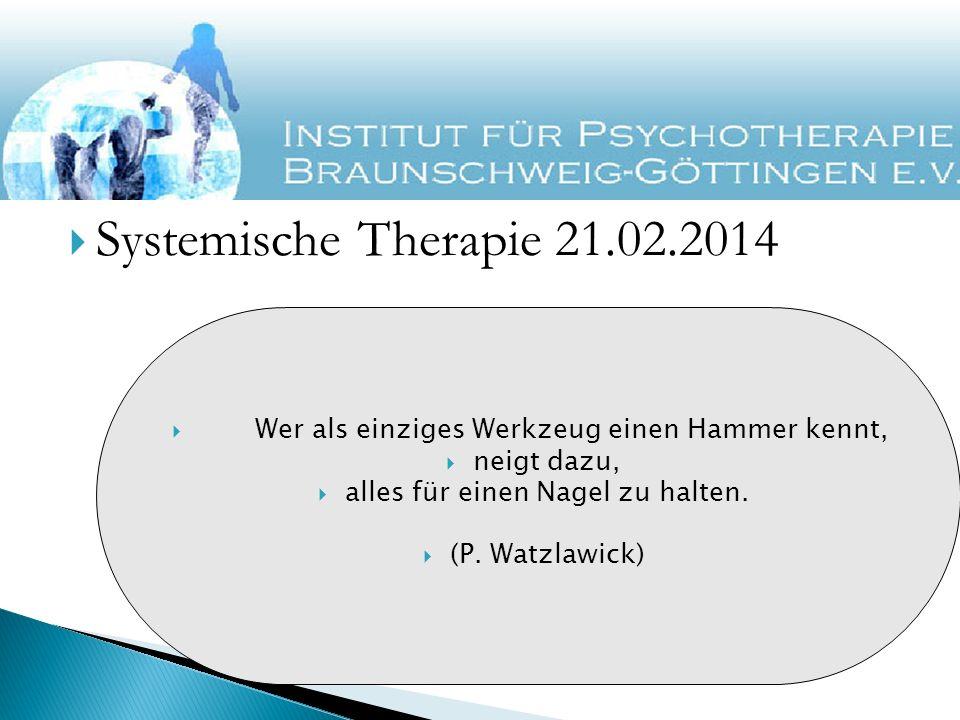 Systemische Therapie 21.02.2014 Wer als einziges Werkzeug einen Hammer kennt, neigt dazu, alles für einen Nagel zu halten.