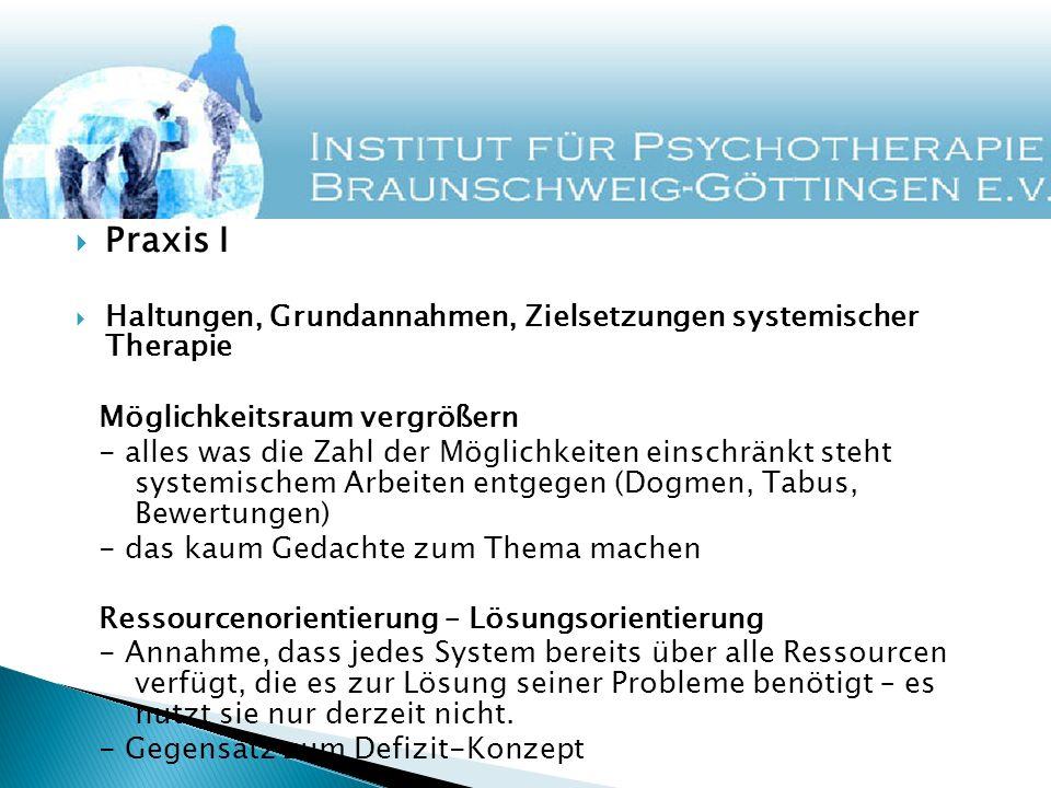 Praxis I Haltungen, Grundannahmen, Zielsetzungen systemischer Therapie