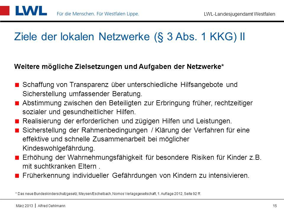 Ziele der lokalen Netzwerke (§ 3 Abs. 1 KKG) II