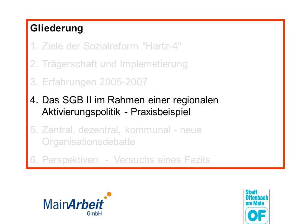 Gliederung Ziele der Sozialreform Hartz-4 Trägerschaft und Implemetierung. Erfahrungen 2005-2007.