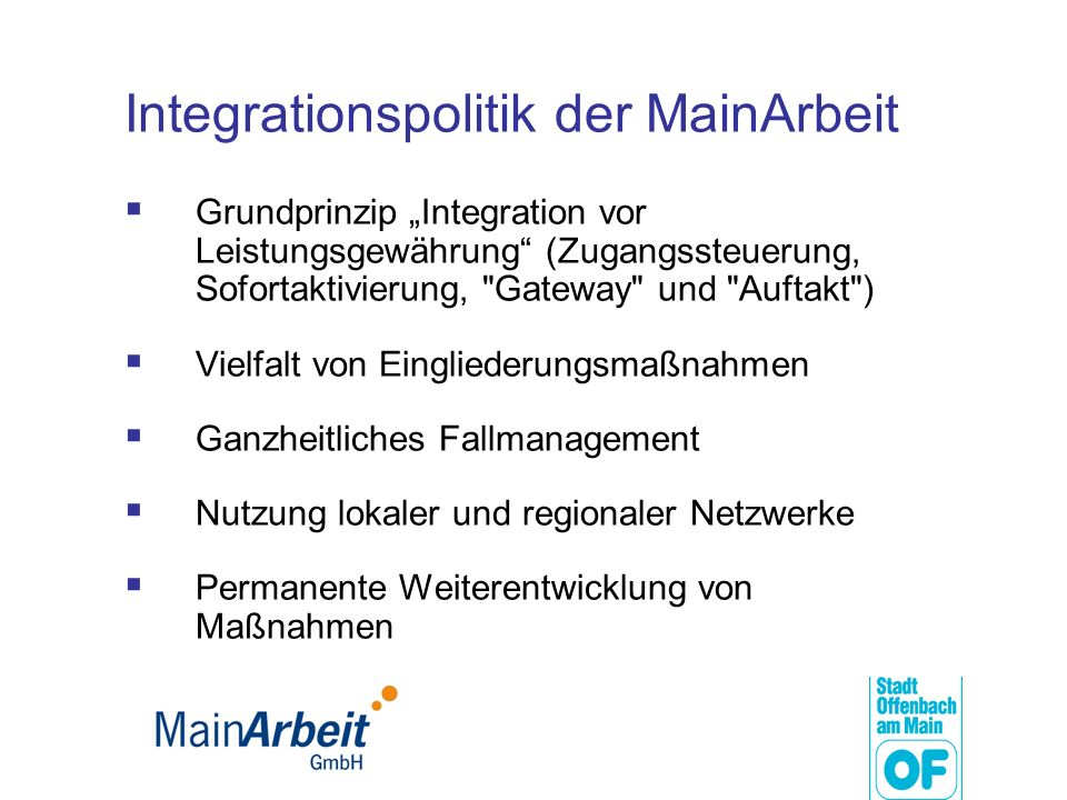 Integrationspolitik der MainArbeit