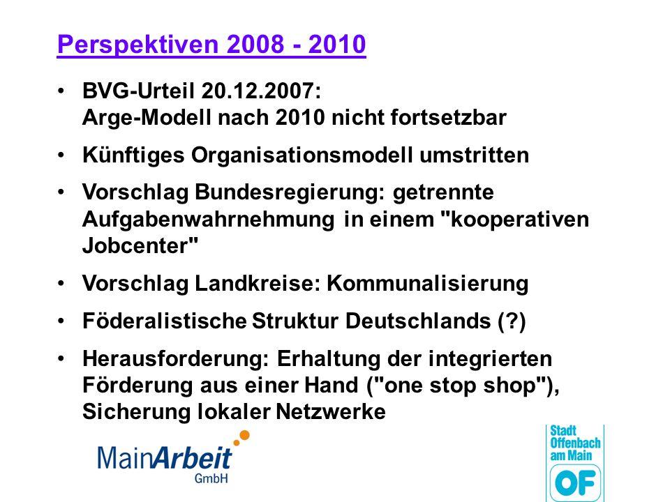 Perspektiven 2008 - 2010 BVG-Urteil 20.12.2007: Arge-Modell nach 2010 nicht fortsetzbar. Künftiges Organisationsmodell umstritten.