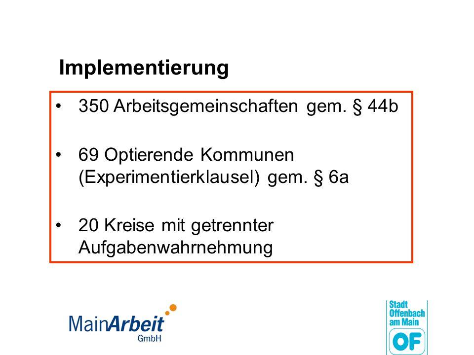 Implementierung 350 Arbeitsgemeinschaften gem. § 44b