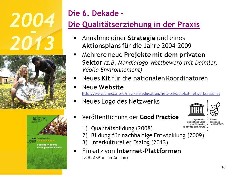 2004 2013 - Die 6. Dekade – Die Qualitätserziehung in der Praxis