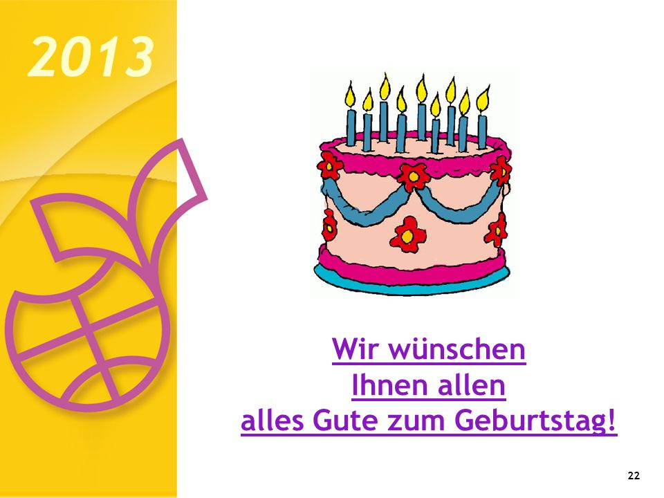 Wir wünschen Ihnen allen alles Gute zum Geburtstag!