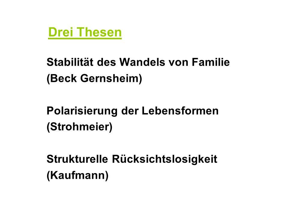 Drei Thesen Stabilität des Wandels von Familie (Beck Gernsheim)