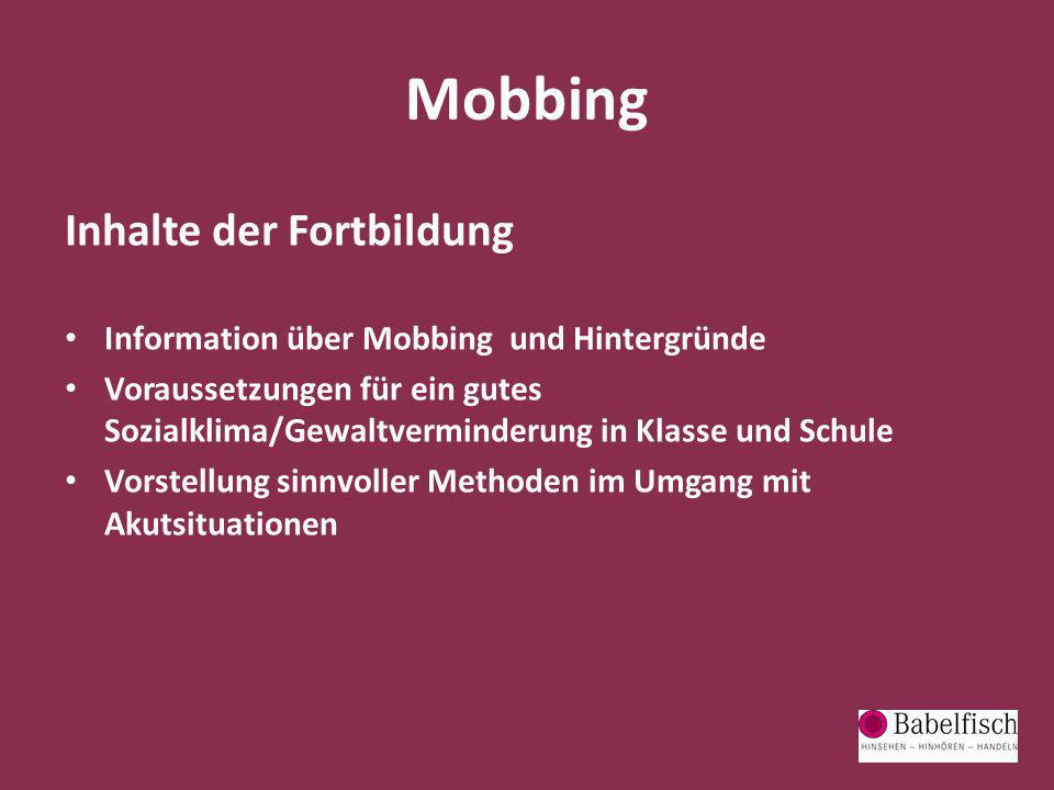 Mobbing Inhalte der Fortbildung