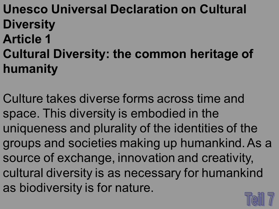 Unesco Universal Declaration on Cultural Diversity Article 1