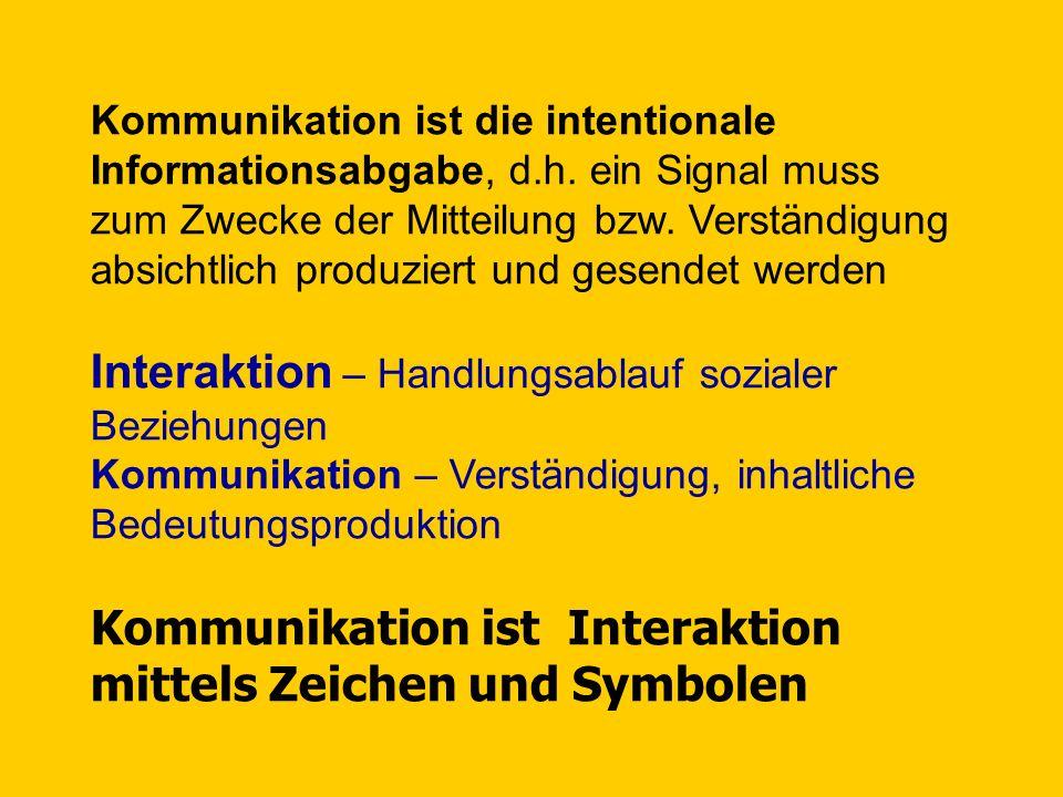 Interaktion – Handlungsablauf sozialer Beziehungen