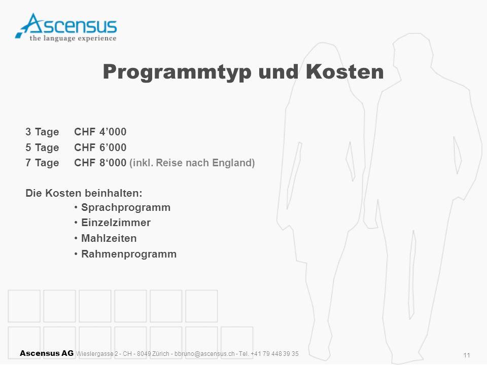 Programmtyp und Kosten