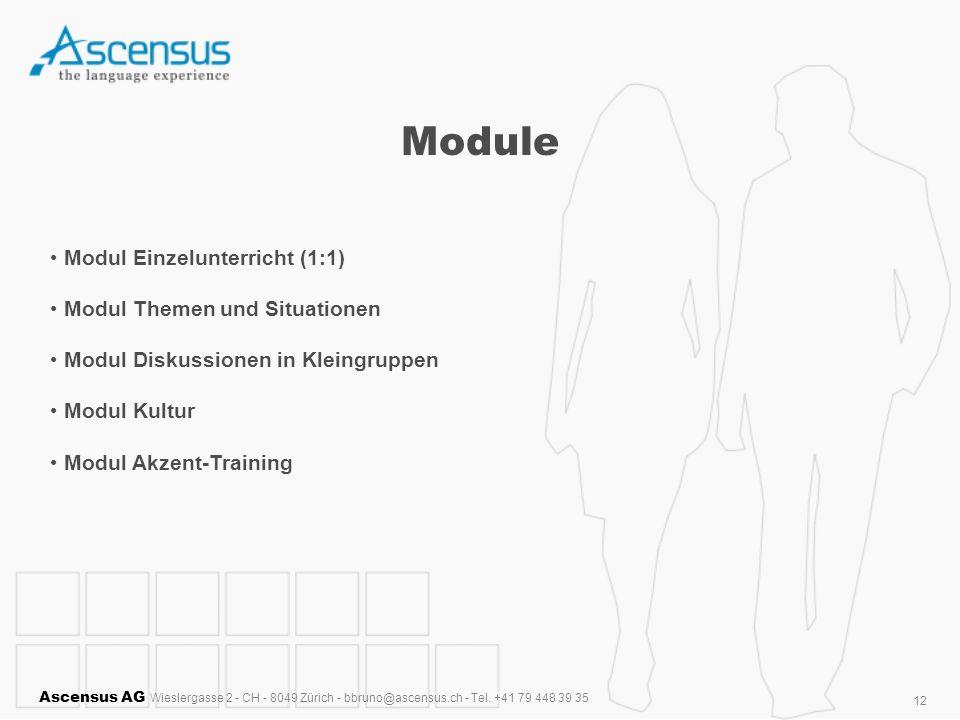 Module Modul Einzelunterricht (1:1) Modul Themen und Situationen