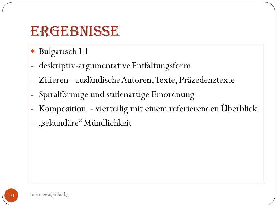 Ergebnisse Bulgarisch L1 deskriptiv-argumentative Entfaltungsform