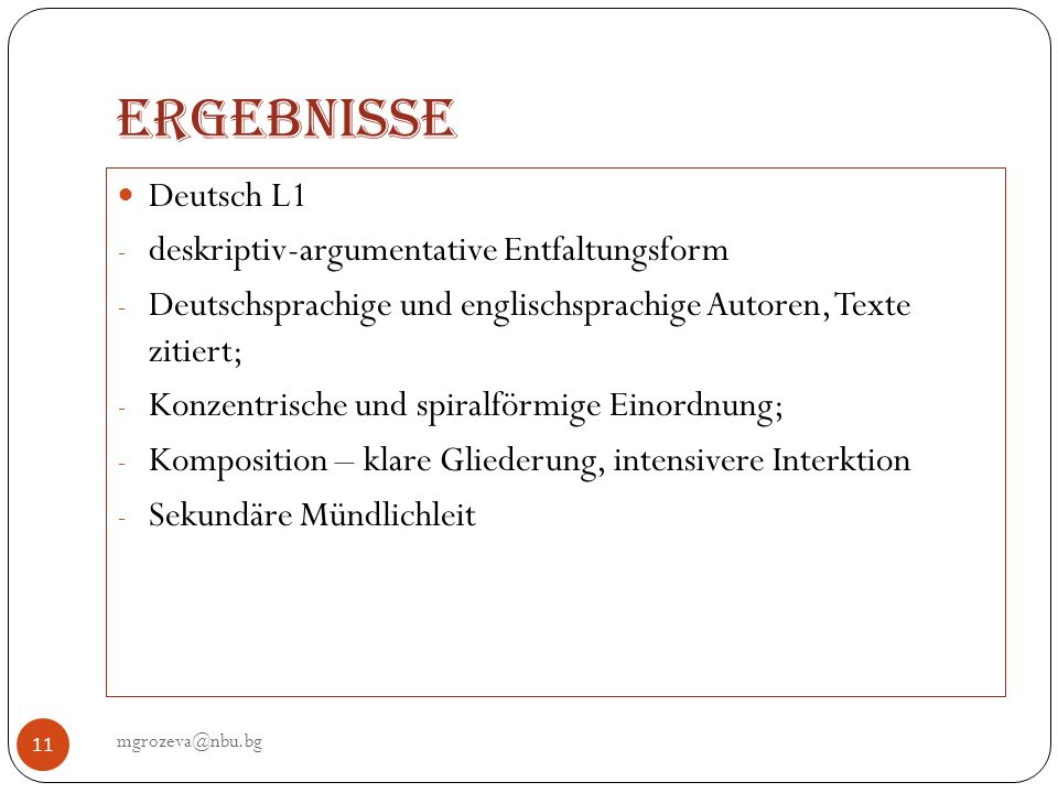 Ergebnisse Deutsch L1 deskriptiv-argumentative Entfaltungsform