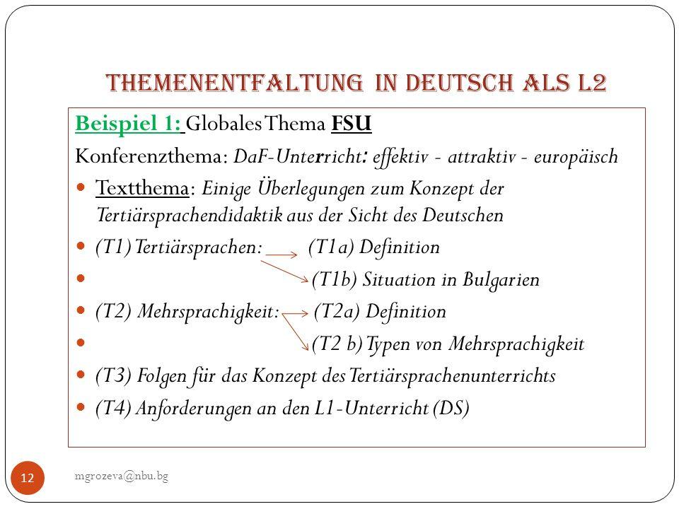 Themenentfaltung in Deutsch als L2