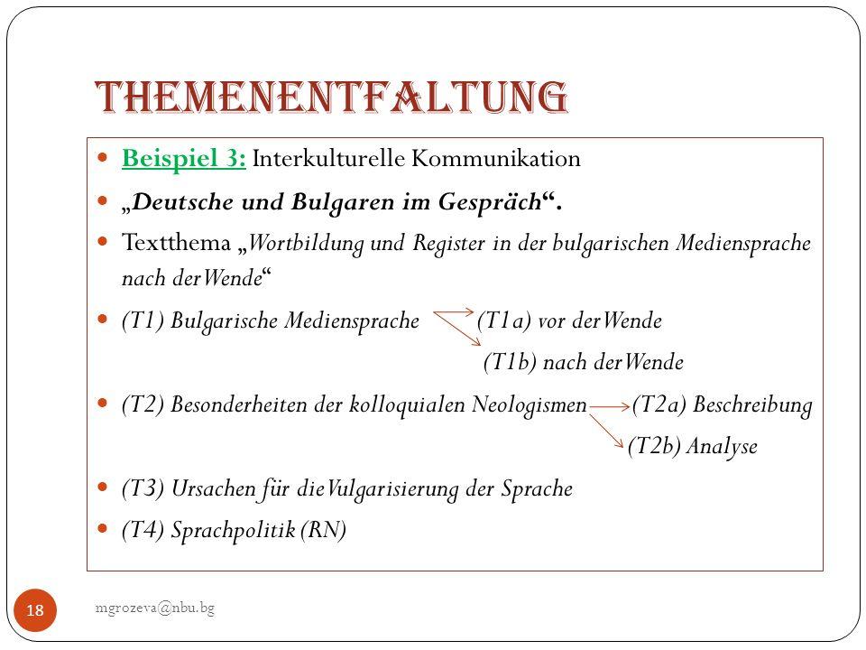 Themenentfaltung Beispiel 3: Interkulturelle Kommunikation