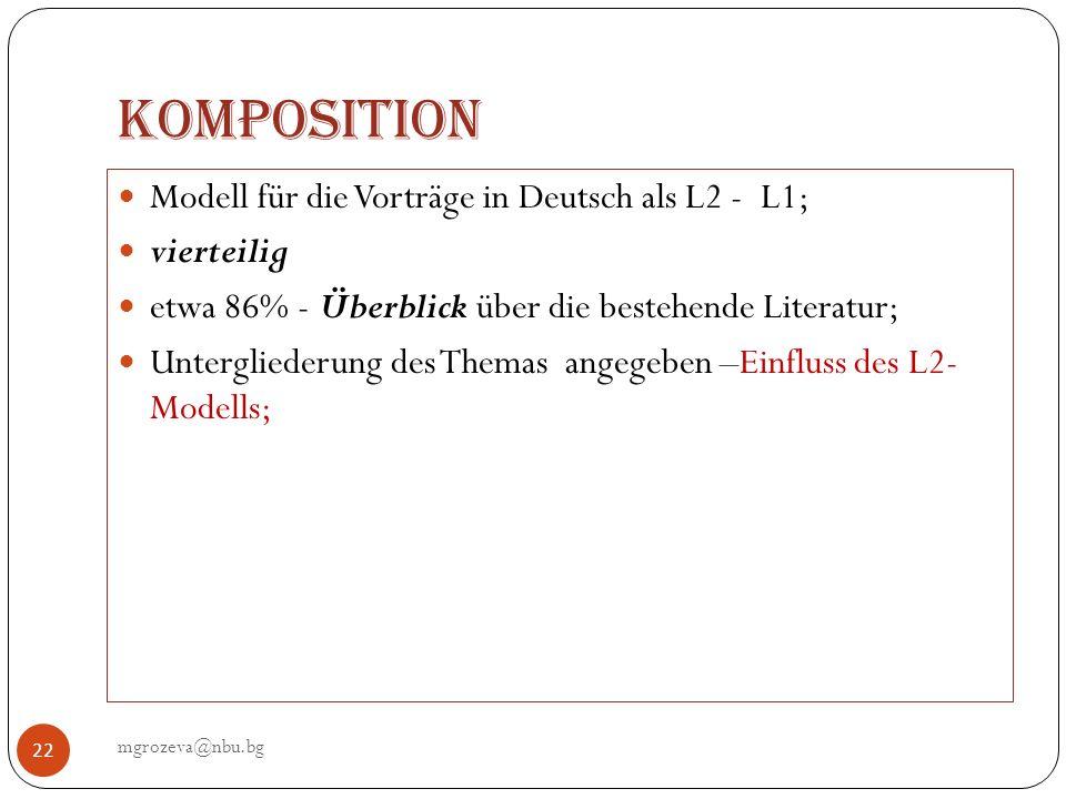 Komposition Modell für die Vorträge in Deutsch als L2 - L1; vierteilig