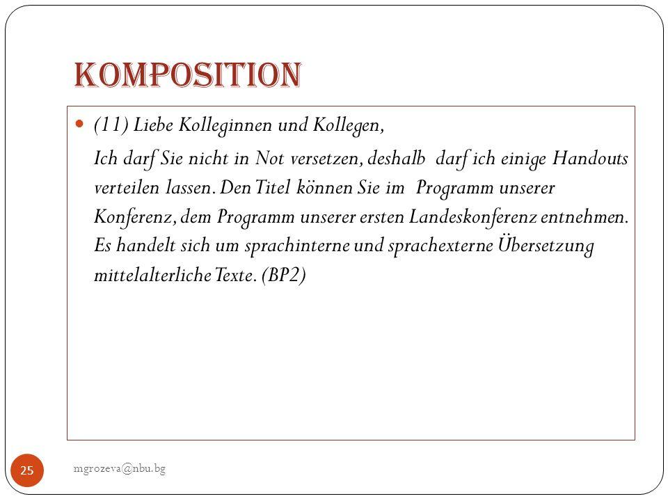 Komposition (11) Liebe Kolleginnen und Kollegen,