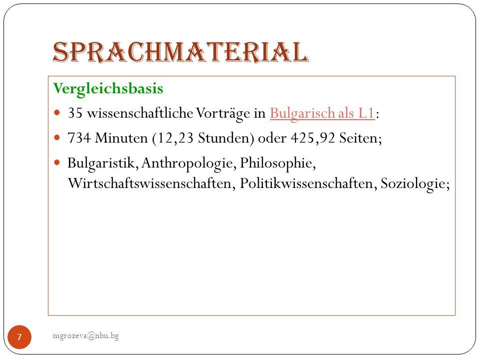 Sprachmaterial Vergleichsbasis