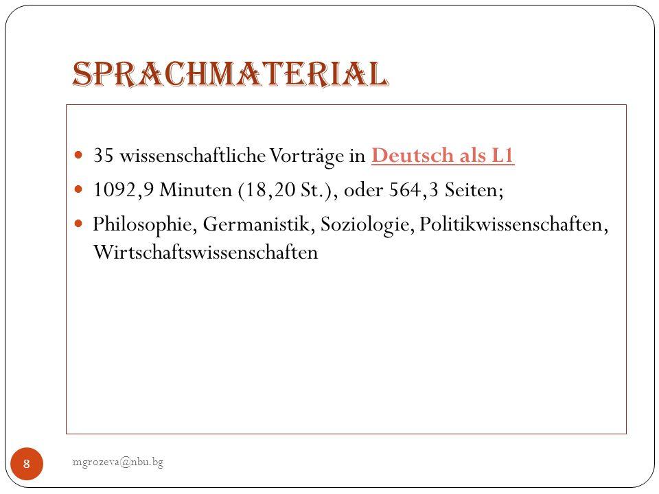 Sprachmaterial 35 wissenschaftliche Vorträge in Deutsch als L1