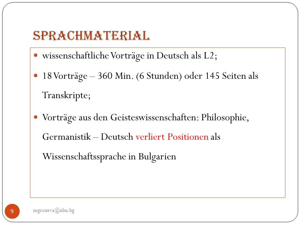 Sprachmaterial wissenschaftliche Vorträge in Deutsch als L2;