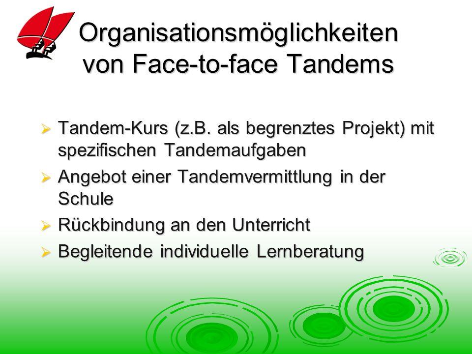 Organisationsmöglichkeiten von Face-to-face Tandems