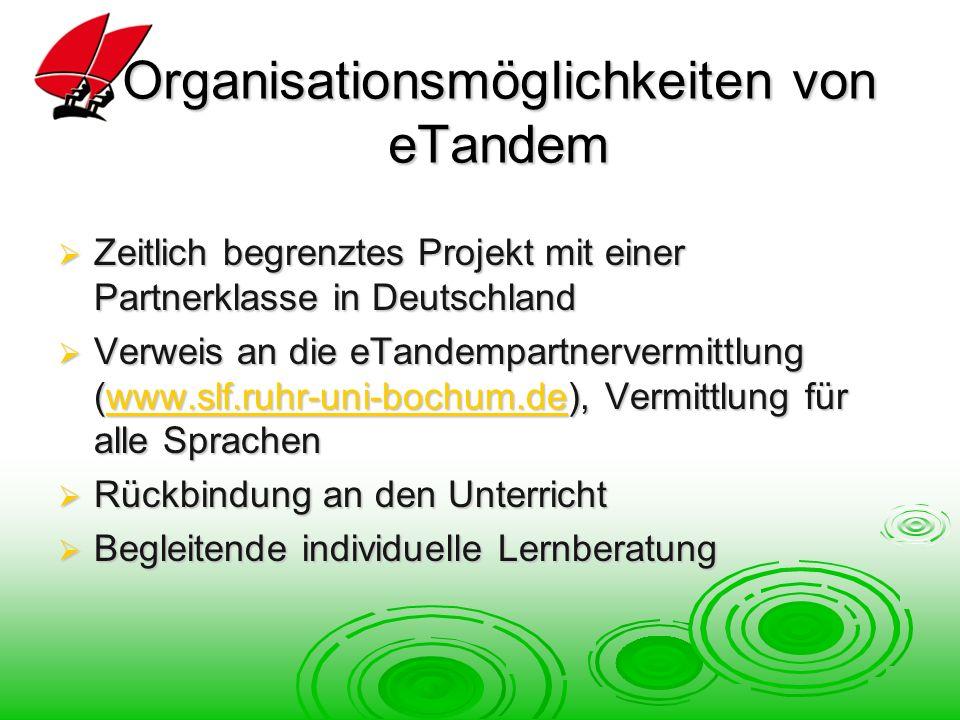 Organisationsmöglichkeiten von eTandem