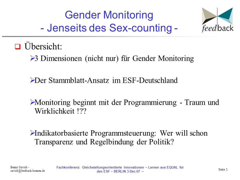 Gender Monitoring - Jenseits des Sex-counting -