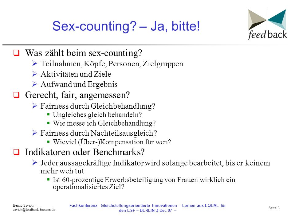 Sex-counting – Ja, bitte!