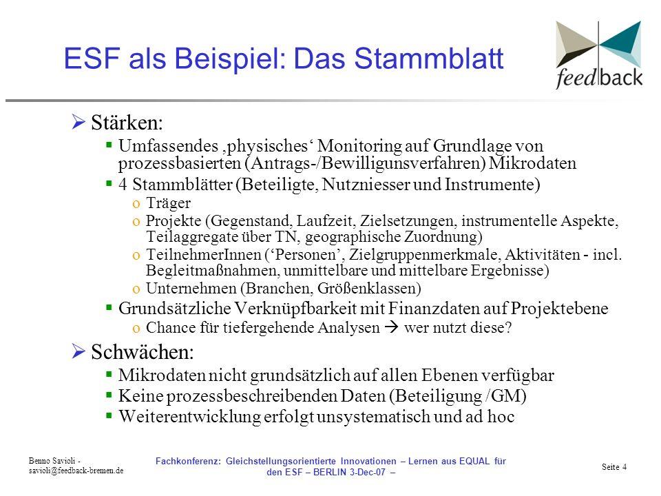 ESF als Beispiel: Das Stammblatt