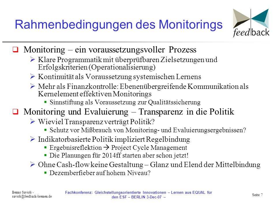 Rahmenbedingungen des Monitorings
