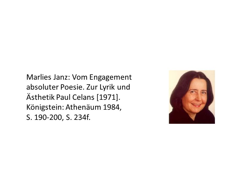 Marlies Janz: Vom Engagement absoluter Poesie