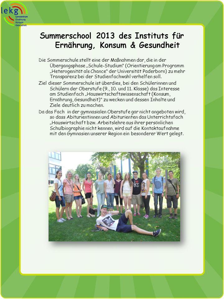 Summerschool 2013 des Instituts für Ernährung, Konsum & Gesundheit