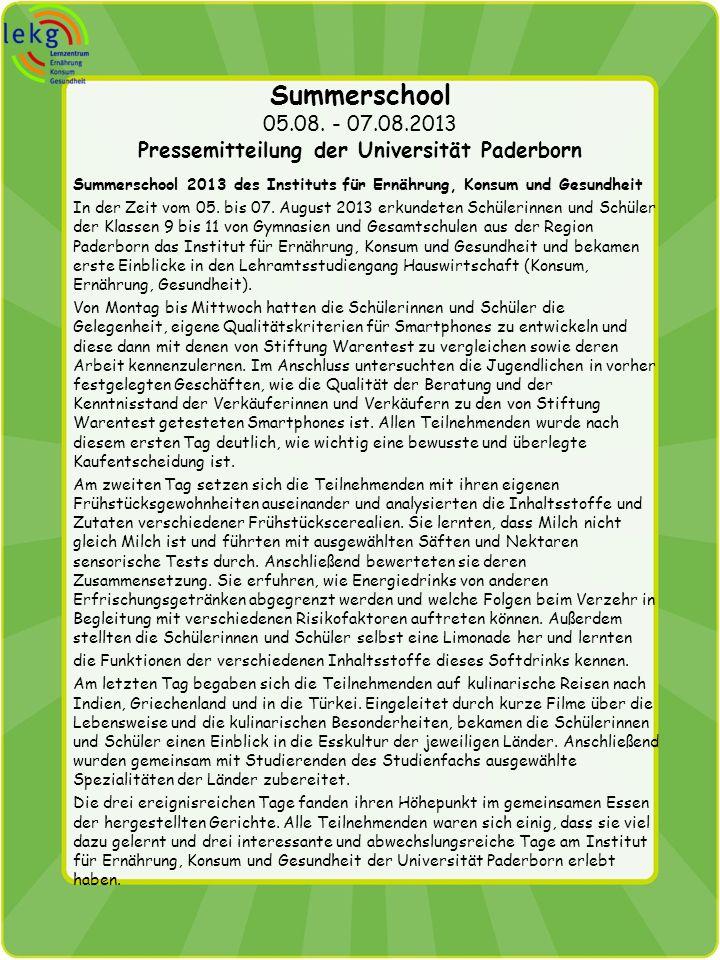 Summerschool 05.08. - 07.08.2013 Pressemitteilung der Universität Paderborn