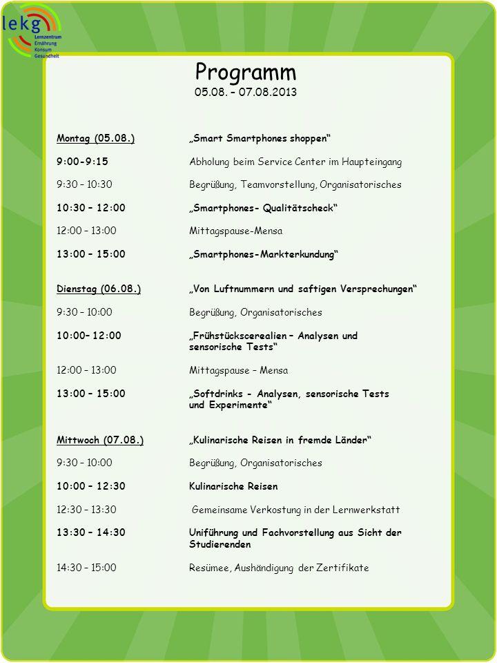 Programm 05.08. – 07.08.2013