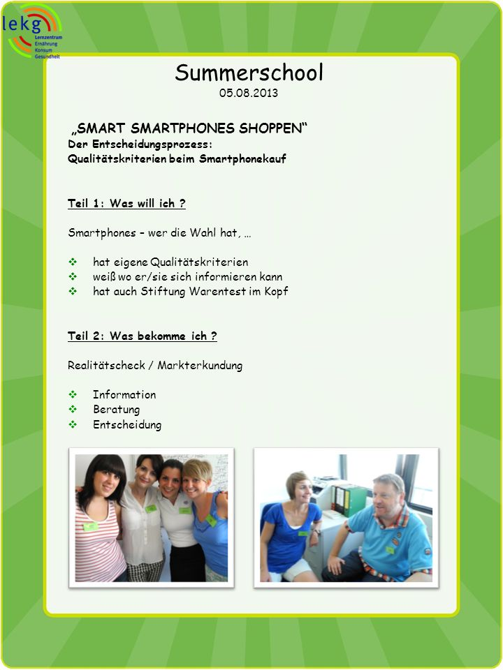 "Summerschool 05.08.2013 ""Smart Smartphones shoppen"