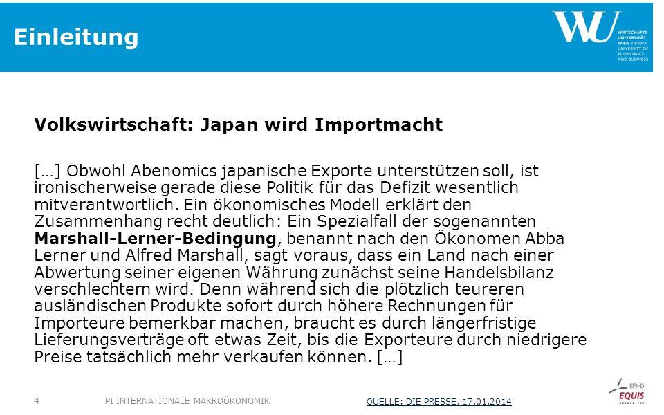 Einleitung Volkswirtschaft: Japan wird Importmacht