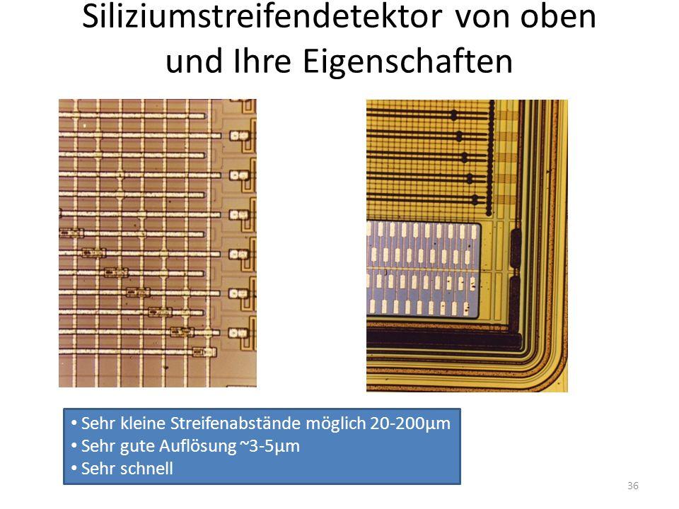 Siliziumstreifendetektor von oben und Ihre Eigenschaften
