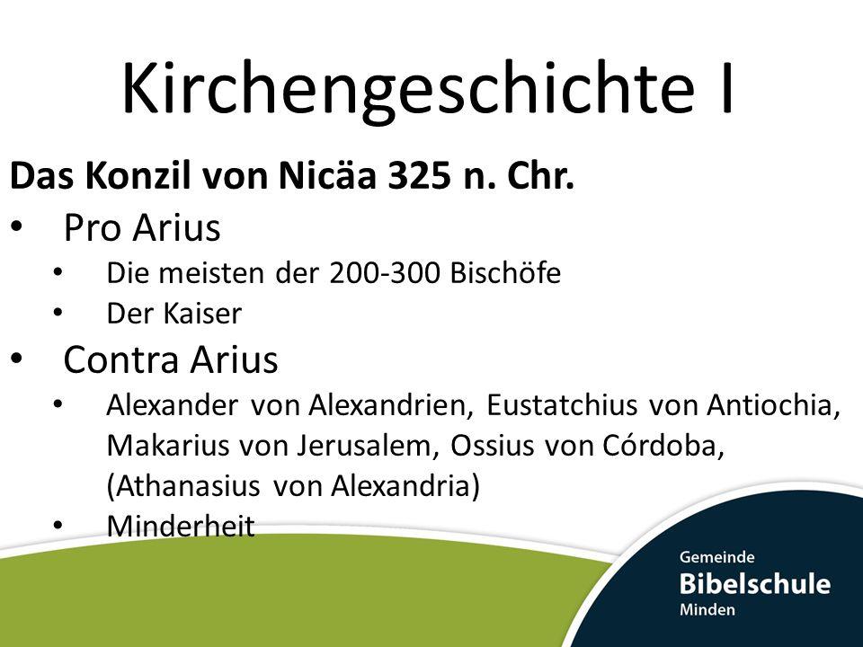 Kirchengeschichte I Das Konzil von Nicäa 325 n. Chr. Pro Arius