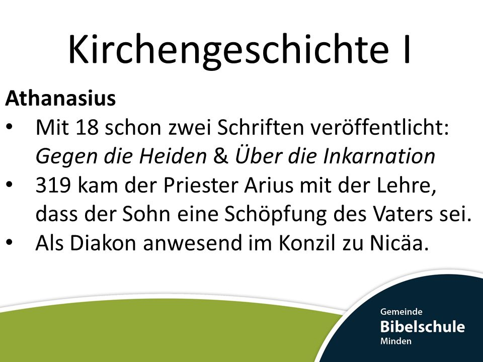 Kirchengeschichte I Athanasius