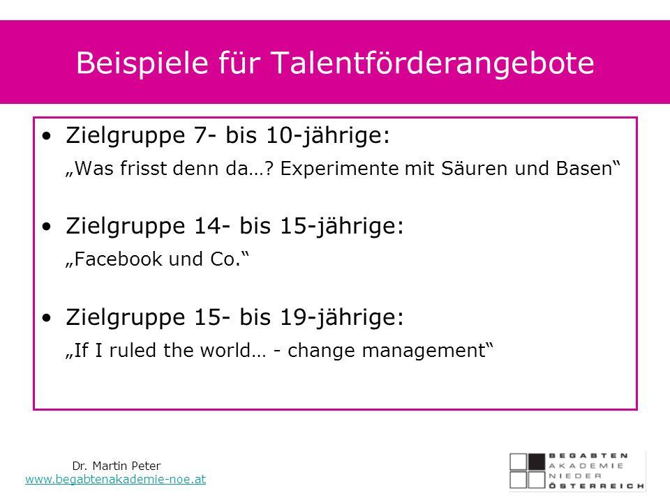 Beispiele für Talentförderangebote