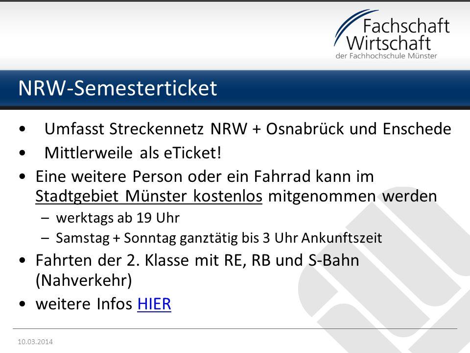 NRW-Semesterticket Umfasst Streckennetz NRW + Osnabrück und Enschede