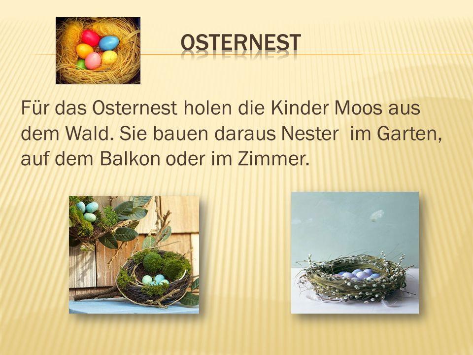 Osternest Für das Osternest holen die Kinder Moos aus dem Wald.
