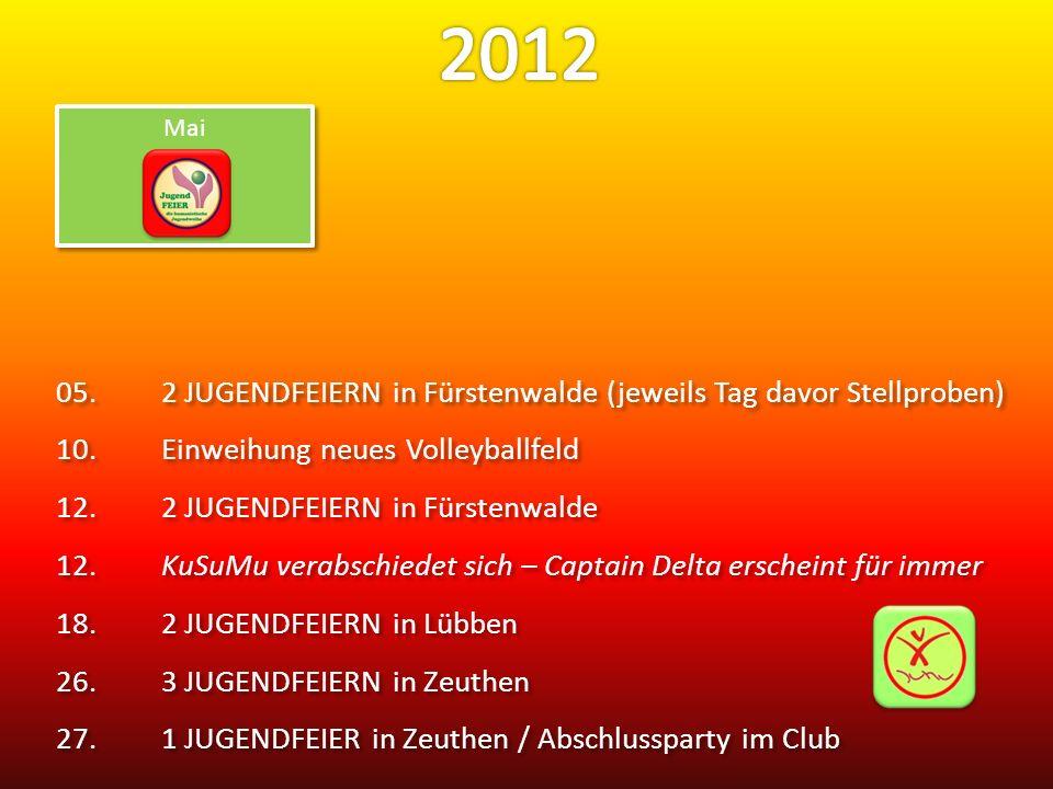 2012 Mai. 05. 2 JUGENDFEIERN in Fürstenwalde (jeweils Tag davor Stellproben) 10. Einweihung neues Volleyballfeld.
