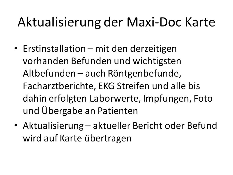Aktualisierung der Maxi-Doc Karte