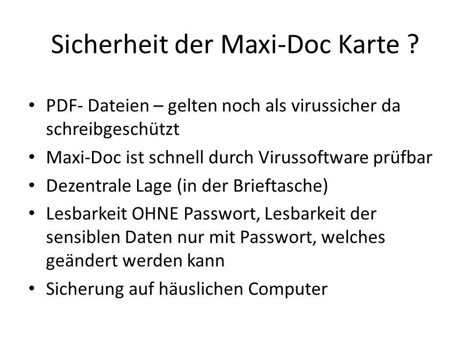 Sicherheit der Maxi-Doc Karte
