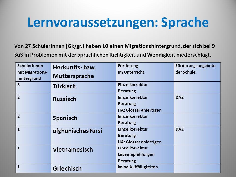 Lernvoraussetzungen: Sprache