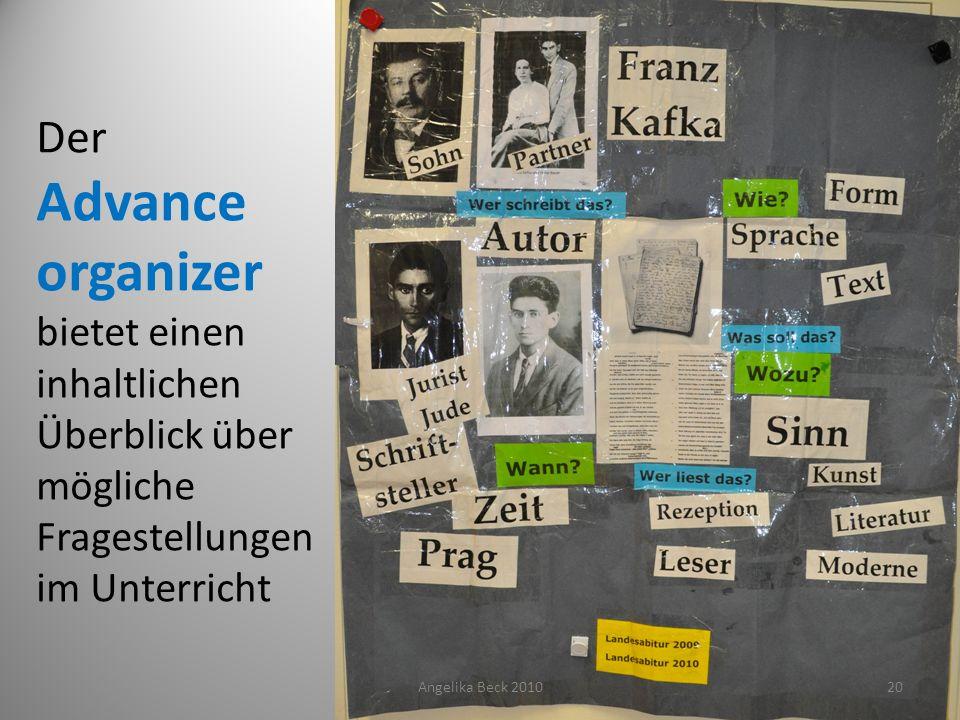 Der Advance organizer bietet einen inhaltlichen Überblick über mögliche Fragestellungen im Unterricht