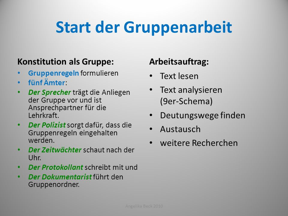 Start der Gruppenarbeit